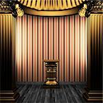 bronze columns, pedestal and wallpaper made in 3D Stock Photo - Royalty-Free, Artist: icetray                       , Code: 400-04270613