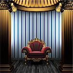 bronze columns, chair and wallpaper made in 3D Stock Photo - Royalty-Free, Artist: icetray                       , Code: 400-04270615