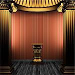 bronze columns, pedestal and wallpaper made in 3D Stock Photo - Royalty-Free, Artist: icetray                       , Code: 400-04270619