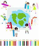 group of kids drawing on a note book paper Stock Photo - Royalty-Free, Artist: dip                           , Code: 400-04271257