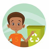 Kid using recycling bin, vector illustration Stock Photo - Royalty-Freenull