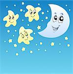 Night sky with cute stars and Moon - vector illustration. Stock Photo - Royalty-Free, Artist: clairev                       , Code: 400-04272661