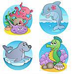 Various water animals and fishes 1 - vector illustration.