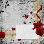 Romantic  vintage background with red roses and hearts (1 of set) Stock Photo - Royalty-Free, Artist: O_April                       , Code: 400-04273231