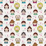 seamless cute family pattern,vector illustration Stock Photo - Royalty-Free, Artist: notkoo2008                    , Code: 400-04273355