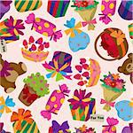 seamless gift pattern Stock Photo - Royalty-Free, Artist: notkoo2008                    , Code: 400-04273709