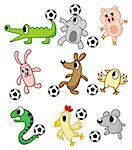 cartoon animals play soccer Stock Photo - Royalty-Free, Artist: notkoo2008                    , Code: 400-04273841
