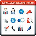 modern business icon set of illustrations in colour Stock Photo - Royalty-Free, Artist: joingate                      , Code: 400-04274125