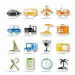 Travel, transportation, tourism and holiday icons - vector icon set Stock Photo - Royalty-Free, Artist: stoyanh                       , Code: 400-04274365