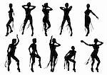 Vector drawing dancing girl on a white background Stock Photo - Royalty-Free, Artist: grynold                       , Code: 400-04274376