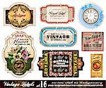 Vintage Labels Collection - nine design elements with original antique style -Set 16 Stock Photo - Royalty-Free, Artist: DavidArts                     , Code: 400-04274573