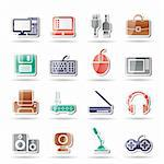 Computer equipment and periphery icons - vector icon set Stock Photo - Royalty-Free, Artist: stoyanh                       , Code: 400-04274618