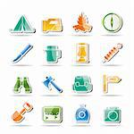 tourism and hiking icons - vector icon set Stock Photo - Royalty-Free, Artist: stoyanh                       , Code: 400-04274631