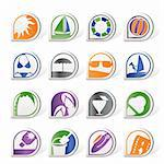 Simple Summer and Holiday Icons - Vector Icon Set Stock Photo - Royalty-Free, Artist: stoyanh                       , Code: 400-04274995
