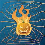 Vector illustration with yellow halloween pumpkin on fire and web Stock Photo - Royalty-Free, Artist: BooblGum                      , Code: 400-04275148