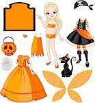 Pointing Paper Doll with three dresses for Halloween Party Stock Photo - Royalty-Free, Artist: Dazdraperma                   , Code: 400-04275156