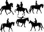 jockey silhouettes collection - vector Stock Photo - Royalty-Free, Artist: pale62                        , Code: 400-04275477
