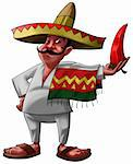 a traditional mexican with a sombrero and a big jalapeno