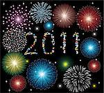 vector illustration of fireworks with 2011