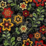 Seamless floral black pattern with vivid flowers (vector) Stock Photo - Royalty-Free, Artist: OlgaDrozd                     , Code: 400-04278810