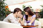 Young man kisses a hand to the beautiful girl on cafe Stock Photo - Royalty-Free, Artist: Deklofenak                    , Code: 400-04278862