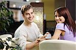 Happy smiling pair of the enamoured have dinner in cafe Stock Photo - Royalty-Free, Artist: Deklofenak                    , Code: 400-04278869