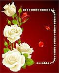 Vector white rose and pearls frame. Design element.
