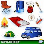 Illustration of different camp colored icons, easy to use Stock Photo - Royalty-Free, Artist: Stiven                        , Code: 400-04280015