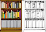 Various kinds of blank books placed in a 3-tier wooden bookshelf with color and black-only versions. Stock Photo - Royalty-Free, Artist: theblackrhino                 , Code: 400-04280677