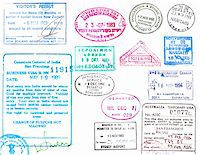 Passport stamps and visas from several countries on a white background Stock Photo - Royalty-Freenull, Code: 400-04280984