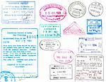 Passport stamps and visas from several countries on a white background Stock Photo - Royalty-Free, Artist: jeffbanke                     , Code: 400-04280984