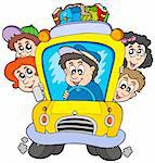 School bus with children - vector illustration. Stock Photo - Royalty-Free, Artist: clairev                       , Code: 400-04281136