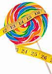 Diet Challenge Concept with Candy Lollipop and Measuring Tape.  Isolated on White with a Clipping Path. Stock Photo - Royalty-Free, Artist: brookebecker                  , Code: 400-04281275