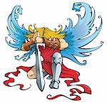 Angel with large sword, kneeling with open wings, vector illustration Stock Photo - Royalty-Free, Artist: ensiferum                     , Code: 400-04281433