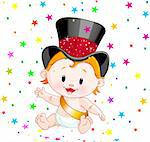 Cute baby in a top hat with party confetti Stock Photo - Royalty-Free, Artist: Dazdraperma                   , Code: 400-04281567