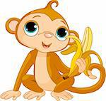 Illustration of funny Monkey with banana Stock Photo - Royalty-Free, Artist: Dazdraperma                   , Code: 400-04283121