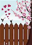 bird's love near beautiful tree with pink flowers and over a fence Stock Photo - Royalty-Free, Artist: BooblGum                      , Code: 400-04283835