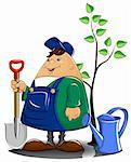 gardener with spade watering can and tree vector illustration Stock Photo - Royalty-Free, Artist: aleksangel                    , Code: 400-04284025