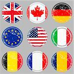 Grunge rubber stamps with flags Stock Photo - Royalty-Free, Artist: hibrida13                     , Code: 400-04284149