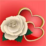 Rose of white color and two hearts on a red background Stock Photo - Royalty-Free, Artist: kapitan29                     , Code: 400-04284268
