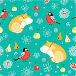Seamless pattern of the cats bullfinches snowflakes on green background Stock Photo - Royalty-Free, Artist: tanor                         , Code: 400-04284729