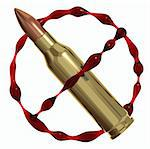 Anti war symbol created of bullet and blood. Against killing icon. 3d render Stock Photo - Royalty-Free, Artist: Sylverarts                    , Code: 400-04284867