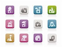 flooded homes - home and house insurance and risk icons - vector icon set Stock Photo - Royalty-Freenull, Code: 400-04285260