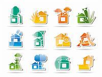 flooded homes - home and house insurance and risk icons - vector icon set Stock Photo - Royalty-Freenull, Code: 400-04285370