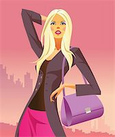 fashion shopping girls with  bag - vector illustration Stock Photo - Royalty-Freenull, Code: 400-04286065