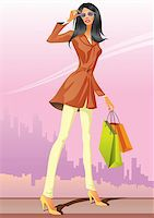fashion shopping girls with shopping bag - vector illustration Stock Photo - Royalty-Freenull, Code: 400-04286107