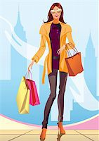 fashion shopping girl with shopping bag in New York- vector illustration Stock Photo - Royalty-Freenull, Code: 400-04286120