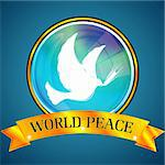 illustration of world peace with bird on abstract background