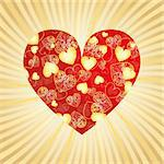 Valentine gold background with heart, vector illustration Stock Photo - Royalty-Free, Artist: MarketOlya                    , Code: 400-04290975