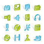 Media and household equipment icons - vector icon set Stock Photo - Royalty-Free, Artist: stoyanh                       , Code: 400-04291816